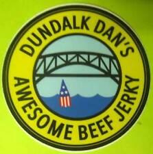 DUNDALK DAN'S AWESOME BEEF JERKY 3 inch STICKER LABEL w/ Bridge & Buoy, MARYLAND