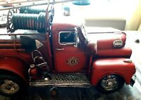 Highly Detailed Large Model Tin Plate American Bull-Nosed Fire Tender  VGC
