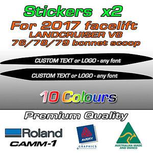 CUSTOM Sticker for 2017-on LandCruiser 76 70 78 79 series bonnet scoop bulge