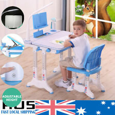 Kids Children Table Writing Desk Chair Lamp Set Drawing Storage Toddler Study