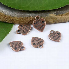 30pcs antiqued copper tone 2sided love heart charms  H1943