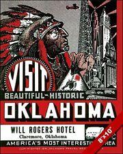 VINTAGE VISIT OKLAHOMA NATIVE AMERICAN TRAVEL AD POSTER ART REAL CANVAS PRINT