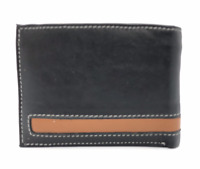 Black Handcrafted Premium Cowhide Genuine Leather Men's Bifold Wallet