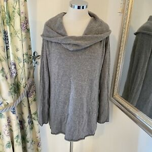 GAP L 14 16 grey cowl neck floaty 100% cashmere long knit cosy jumper tunic top