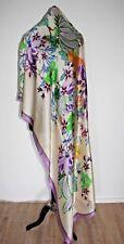 Schal Tuch Silk Scarf Seidenimitat Polyester beige geblümt Handarbeit-Indien