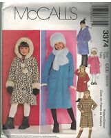 3374 Vintage McCalls Sewing Pattern Girls Unlined Coats Hat Scarf Winter Fall 4
