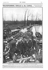 1917 ANTIQUE PRINT - WW1- GUNNERS LOADING PONTOON BOAT BROUGHT BY LIGHT RAILWAY