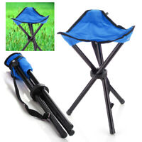 Outdoor Hiking Fishing Lawn Portable Pocket Folding Chair With 3 Leg Stool Blue