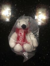 """Coca-cola Polar Bear Plush 4"""" Tall Seated - New In Bag With Tag"""