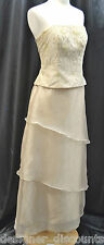 Davids Bridal F21426 Champagne Gold lace tiered chiffon formal dress gown SZ 4