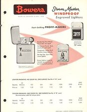 VINTAGE AD SHEET #1926 - BOWERS - STORM MASTERS WINDPROOF ENGRAVED LIGHTERS