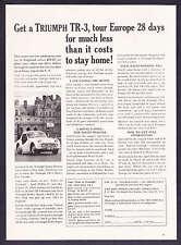 "1960 Triumph TR-3 photo ""Tour Europe 28 Days"" print ad"