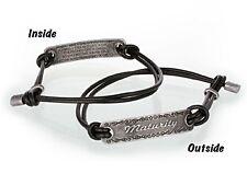 "Religous Black Coated Leather Bracelet ""Maturity"" Verse 1 Cor 13:11 On Inside"