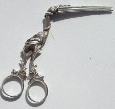 STUNNING  18TH CENTURY SOLID SILVER STORK UMBILICAL CORD CLAMP/RIBBON PULLERS