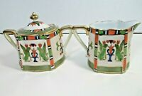Vintage 3 pc Hand Painted Nippon Creamer and Covered Sugar green blue peach