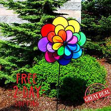 Garden Wind Spinner Yard Flower Decor Art Colourful Kinetic Stake Twister Best