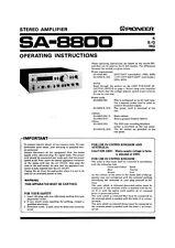 Pioneer SA-8800 Amplifier Owners Manual