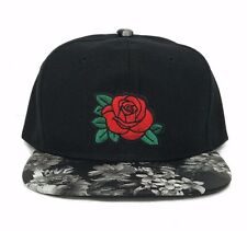 Rose Embroidery Floral Print Snapback Hat Baseball Cap Flower Flat Bill Hip Hop