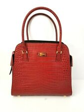 Michael Kors Red Crocodile Print Tote Handbag Purse