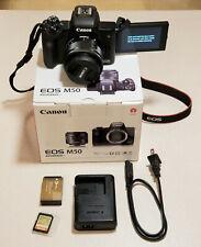 CANON EOS M50 24MP MIRROLESS DIGITAL CAMERA 15-45MM LENS+EXTRA BATTERY+64GB CARD