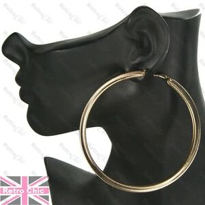 OVERSIZE HOOP EARRINGS large GOLD FASHION 9cm chunky thick metal texture hoops