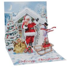 Pop-Up Christmas Card Trearures by Popshots Studios - Santa and Snowman