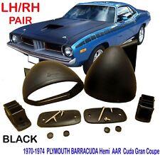 1970-1974 PLYMOUTH BARRACUDA HIGH C 528 AAR HEMI CUDA BULLET BLACK MIRROR PAIR