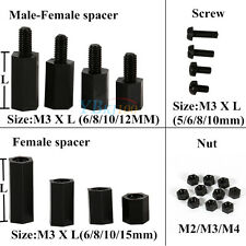M2 M3 M4 Black Plastic Nylon Hex Male-Female/Female Spacer Screw Nut Hot 100pcs