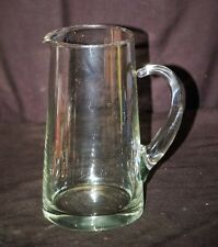 Old Vintage Heavy Clear Glass Pitcher w Applied Handle Kitchen Utensil Decor MCM