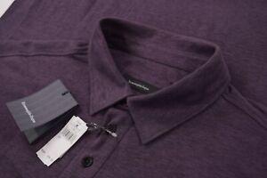 Ermenegildo Zegna NWT Size 3XL 58 Short Sleeve Dress Shirt Polo Purple Linen