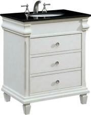 HAMPTON BATHROOM VANITY SINK CHEST TRANSITIONAL 30-IN SINGLE ANTIQUE WHITE