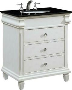 HAMPTON BATHROOM VANITY SINK TRANSITIONAL 30-IN SINGLE ANTIQUE WHITE BRASS