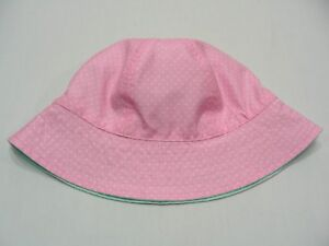 PINK WITH WHITE POLKA DOTS - 6-12M SIZE BUCKET HAT SUN CAP!