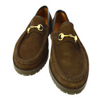 GUCCI Horsebit Shoes Loafers Brown Suede #35 1/2 C Italy Authentic AK33123g