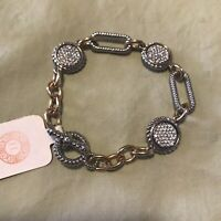"""Hello Lovely Gold And Silver Toned Bracelet Rhinestones Toggle Closure 7"""""""