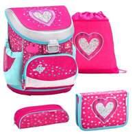 Belmil Schulranzen Set Mini-Fit 4-tlg Erstklässler für Mädchen Einschulung Heart