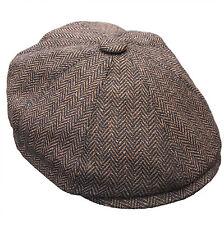 G & H Dark Brown Herringbone Newsboy 8 Panel Peaky Blinders Style Flat Cap Hat