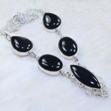 handgemacht Elegant schwarzer Onyx 925 Sterlingsilber Halskette 47cm AA1015