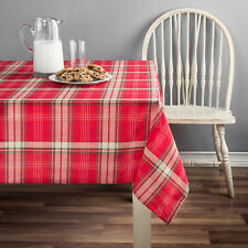 "MainStays Holiday Red & Cream Plaid Fabric Tablecloth 60x102"" Cotton/Polyester"