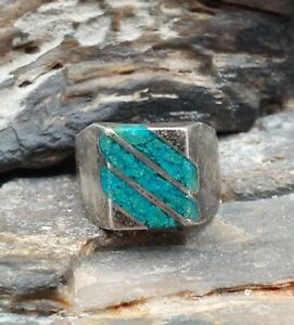 Vintage Mexico Sterling Silver Crushed Turquoise Men's Ring Native Navajo Old...