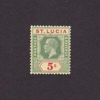 ST. LUCIA 1921, Sc# 89, CV $60, 'George V', MH