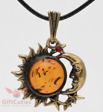 Brass Amber Pendant of Sun & Moon or Day & Night talisman necklace IronWork
