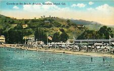 Catalina Island CA~Avalon~Crowds on Beach~For Rent: Rooms Tents Cottages~1910