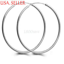 18K White Gold Filled thin Endless Round Hoop Earrings 14/16/18/20/45MM/50/55MM