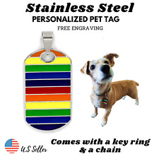 Lgbt Pride Queer Rainbow Dog Cat Tag Charm Engrave Personalized Stainless Steel