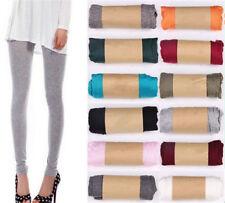 Women's Stretchy High Waist Fluorescent Leggings Cotton Skinny Pants 17Colors