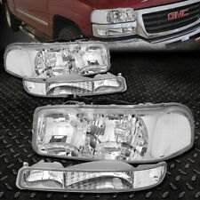 For 99-07 Gmc Sierra Yukon Xl Chrome Housing Clear Corner Headlight Bumper Lamps (Fits: Gmc)