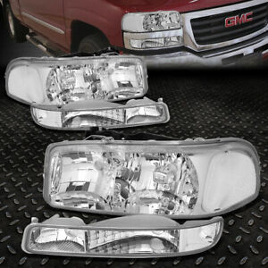 FOR 99-07 GMC SIERRA YUKON XL CHROME HOUSING CLEAR CORNER HEADLIGHT BUMPER LAMPS