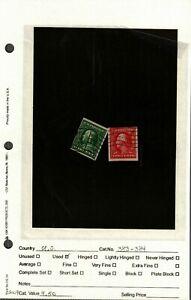 U.S. Stamp scott 383,384 used