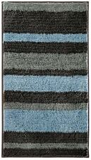 34 x 21 in. Microfiber Bath Rug Gray Blue Stripe Pattern Bathroom Mat Non Slip